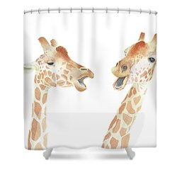 Giraffe Watercolor Shower Curtain by Taylan Apukovska