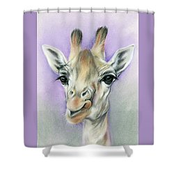 Shower Curtain featuring the pastel Giraffe With Beautiful Eyes by MM Anderson