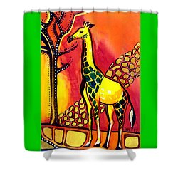 Giraffe With Fire  Shower Curtain by Dora Hathazi Mendes