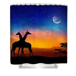 Giraffes Can Dance Shower Curtain by Iryna Goodall