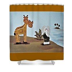 Giraffes, Elephants And Palm Trees Shower Curtain