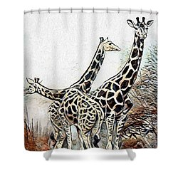 Shower Curtain featuring the digital art Giraffes by Pennie McCracken