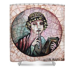 Girl, A Pompeian Miniature Painting Shower Curtain by Victor Minca