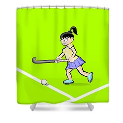 Girl Advancing Hitting The Ball With Her Stick In A Field Hockey Shower Curtain