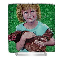 Girl And Chicken Shower Curtain by Stan Hamilton