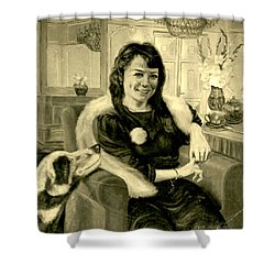 Girl And Dog Shower Curtain