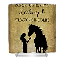 Girl And Horse Silhouette Shower Curtain