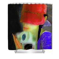 Girl And Puppy Painting Shower Curtain