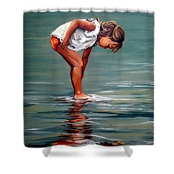 Girl At Shore  Shower Curtain