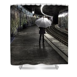 Girl At Subway Station Shower Curtain