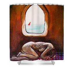 Shower Curtain featuring the painting Girl At The Beach by Winsome Gunning