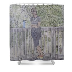 Girl At The Mountain Top Shower Curtain