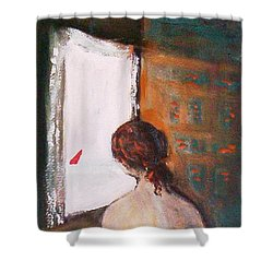 Shower Curtain featuring the painting Girl At The Window by Winsome Gunning