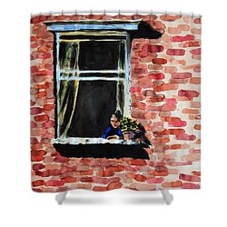 Girl At Window Shower Curtain