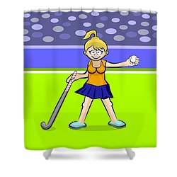 Girl Hockey Player Standing With Ball In Her Hand And Her Stick Shower Curtain