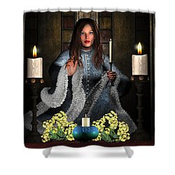 Girl Holding Candle Shower Curtain