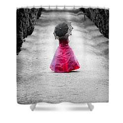 Girl In A Red Dress Shower Curtain by Helen Northcott