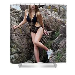 Girl In Black Swimsuit Shower Curtain