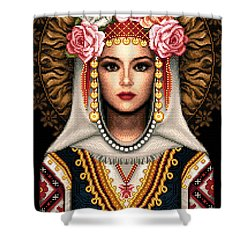 Girl In Bulgarian National Costume Shower Curtain by Stoyanka Ivanova