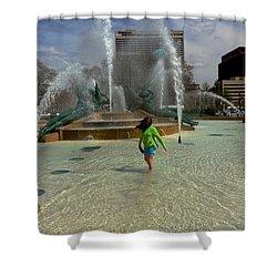 Girl In Fountain Shower Curtain
