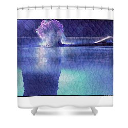 Girl In Pool At Night Shower Curtain by Michael Edwards