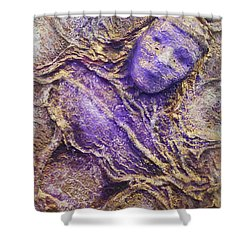 Shower Curtain featuring the mixed media Girl In Purple by Angela Stout