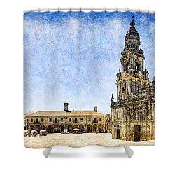 Girl In Santiago - Vintage Version Shower Curtain