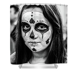 Shower Curtain featuring the photograph Girl In Skull Facepaint by John Williams