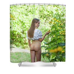 Girl In Swedish Garden Shower Curtain