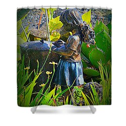 Shower Curtain featuring the photograph Girl In The Garden by Lori Seaman