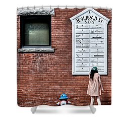 Walking On Railroad Street No. 3 - The Girl In The Polka Dot Dress Shower Curtain