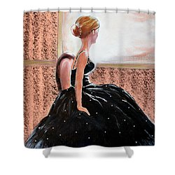 Girl In The Sequin Gown Shower Curtain