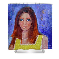 Girl In Yellow Dress Shower Curtain by Claire Bull