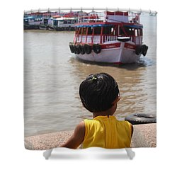 Girl In Yellow Dress W/leaf In Hair Looking At Boats Shower Curtain by Jennifer Mazzucco