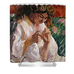 Girl Mending Shower Curtain by Roderic OConor