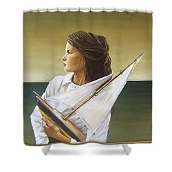 Shower Curtain featuring the painting Girl by Natalia Tejera