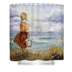 Shower Curtain featuring the painting Girl Ocean Shore Birds And Seashell by Irina Sztukowski