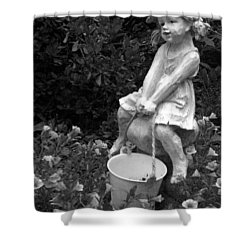 Shower Curtain featuring the photograph Girl On A Mushroom by Sandi OReilly