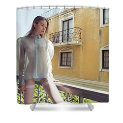Girl On Balcony Shower Curtain