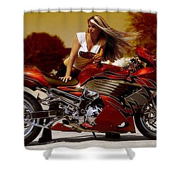 Girl On Fire Shower Curtain