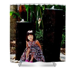 Girl On Rocks Shower Curtain by Angela Murray