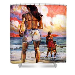 Girl On The Beach Shower Curtain by Stan Esson