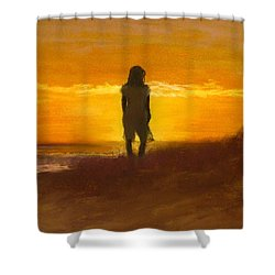 Shower Curtain featuring the painting Girl On The Dunes by Jack Skinner