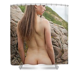 Girl On The Rocks Shower Curtain