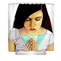 Shower Curtain featuring the drawing Girl Praying Drawing Portrait By Saribelle by Saribelle Rodriguez