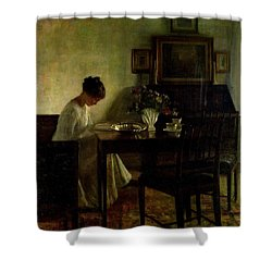 Girl Reading In An Interior  Shower Curtain by Carl Holsoe