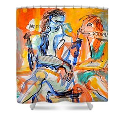 Shower Curtain featuring the painting Girl Talk by Mary Schiros