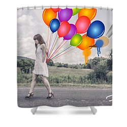 Girl Walking With Ballons #1 Shower Curtain by Diana Riukas