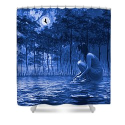 Girl Washing At The River Shower Curtain by Diane Schuster