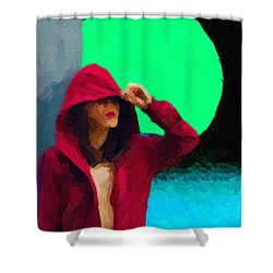 Shower Curtain featuring the digital art Girl Wearing A Maroon Hoodie by Serge Averbukh